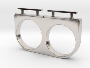 2-Drawer Ring, Modern in Rhodium Plated Brass
