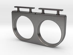 2-Drawer Ring, Modern in Polished Nickel Steel