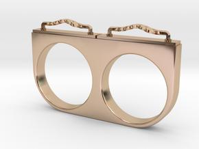 2-Drawer Ring, Ornate in 14k Rose Gold Plated Brass