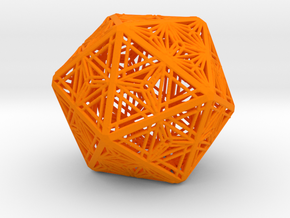 Icosahedron Unique Tessallation in Orange Processed Versatile Plastic