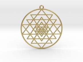 "Sri Yantra Pendant Symmetrical  2"" in Natural Brass"