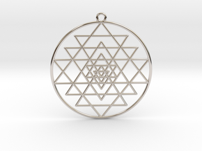 "Sri Yantra 2"" Pendant Symmetrical  in Platinum"