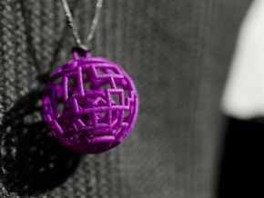 Caged sphere pendant in Purple Processed Versatile Plastic