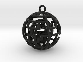 Caged sphere pendant in Black Premium Versatile Plastic