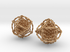 Twisted Ball of Life Pair in Natural Bronze