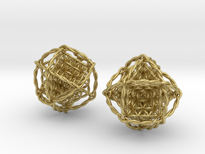 """Twisted Ball of Life Pair 1.8""""  in Natural Brass"""