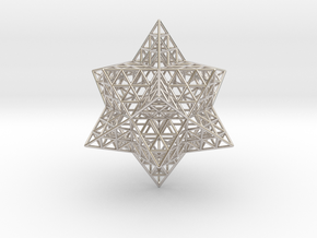 "Stellated Vector Equilibrium w/Triforce Faces 2.2"" in Platinum"