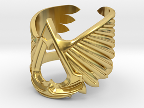AC ring - full sizes (14 to 22) in Polished Brass: 3 / 44