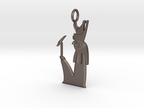 Heru-wer / Haroeris amulet in Polished Bronzed-Silver Steel