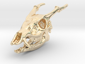Muntjac Skull Solid Miniature in 14K Yellow Gold