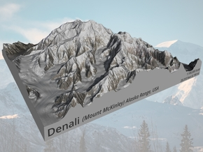 "Denali (Mount McKinley) Map:  8""x8"" in Matte Full Color Sandstone"