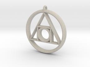 Philosopher's stone Symbol Pendant in Natural Sandstone