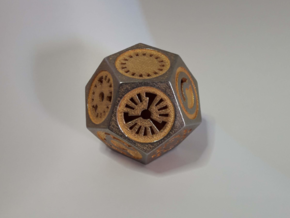 Plato's Dodecahedron - Universo in Polished Gold Steel