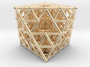 Octahedron fractal  in 14k Gold Plated Brass