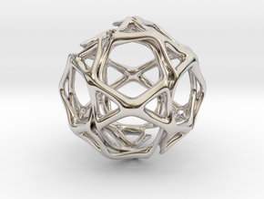 Icosidodecahedron Twisted members  in Rhodium Plated Brass