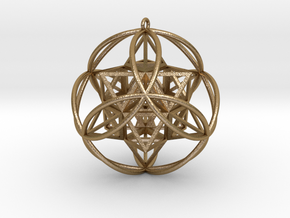 "Stellated Vector Equilibrium 6 Ring 2.5"" Pendant in Polished Gold Steel"