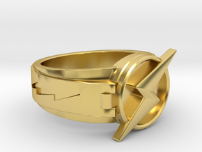 wally west flash ring size12 21.5mm in Polished Brass