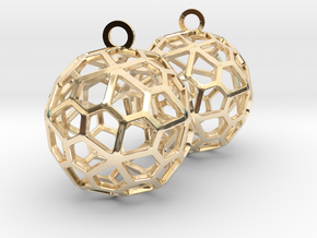 Pentagonal Hexecontahedron Earrings in 14k Gold Plated Brass