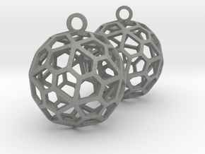 Pentagonal Hexecontahedron Earrings in Gray Professional Plastic