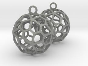 Pentagonal Hexecontahedron Earrings in Gray PA12