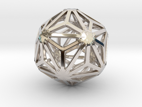 Triakis Icosahedron in Rhodium Plated Brass: Small