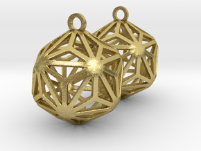 Triakis Icosahedron Earrings in Natural Brass