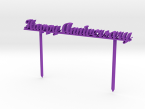 Happy Anniversary Cake Stick in Purple Processed Versatile Plastic: 6mm