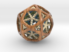 Nested dodeca & Icosa inside Icosidodecahedron in Glossy Full Color Sandstone