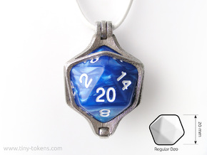 Dice Pendant - D20 - 20mm  in Polished Bronzed-Silver Steel: Medium