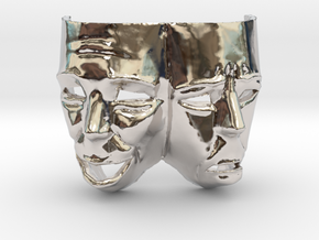 Theater Masks in Rhodium Plated Brass