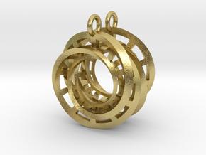Interlocking Möbius Ladders Earrings in Natural Brass (Interlocking Parts)