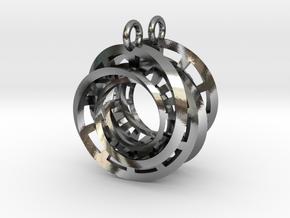 Interlocking Möbius Ladders Earrings in Polished Silver (Interlocking Parts)