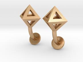 Octahedron Cufflinks in Natural Bronze