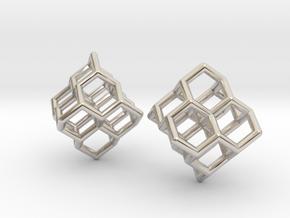 Diamond Earrings in Rhodium Plated Brass
