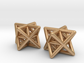Stellated Octahedron Earrings in Natural Bronze