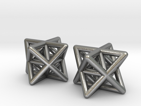 Stellated Octahedron Earrings in Natural Silver