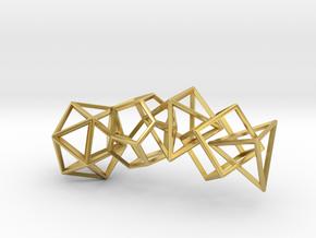 Platonic Solids Wireframe Pendant in Polished Brass (Interlocking Parts)