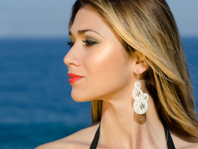 Star Coral Earring in White Strong & Flexible Polished