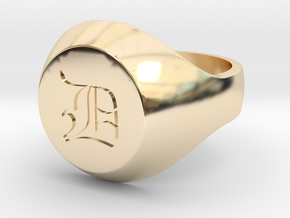 "Initial Ring ""D"" in 14k Gold Plated Brass"