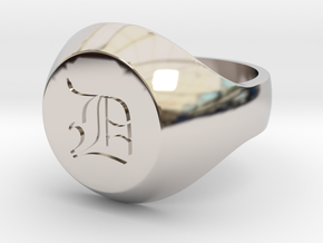 "Initial Ring ""D"" in Rhodium Plated Brass"