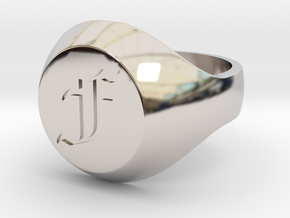 """Initial Ring """"F"""" in Rhodium Plated Brass"""