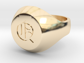 "Initial Ring ""Q"" in 14k Gold Plated Brass"