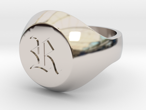 """Initial Ring """"R"""" in Rhodium Plated Brass"""