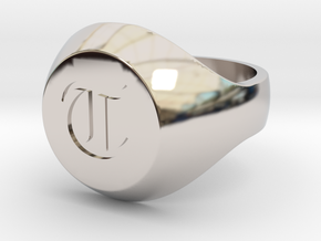 """Initial Ring """"T"""" in Rhodium Plated Brass"""