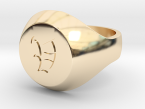 """Initial Ring """"V"""" in 14K Yellow Gold"""