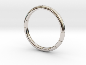 Traditional Ribbed Bracelet in Rhodium Plated Brass