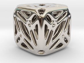 Nested Tessellated Cube in Rhodium Plated Brass