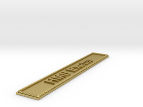 Nameplate HMS Exeter in Natural Brass