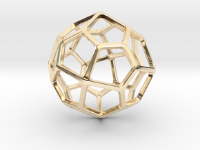 Pentagonal Icositetrahedron in 14k Gold Plated Brass: Small