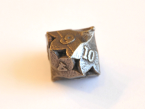 D10 Balanced - Fire in Polished Bronze Steel